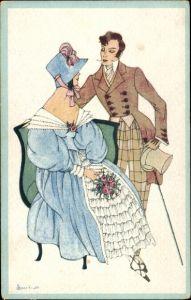 Künstler Ak Sparkuhl, Sitzende Frau in blauem Kleid mit Hut, stehender Mann in Gehrock, Zylinder