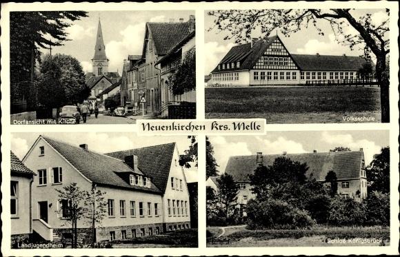 Ak Neuenkirchen Melle in Niedersachsen, Schloss Königsbrücke, Volksschule, Landjugendheim, Kirche