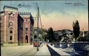 Ak Sarajevo Bosnien Herzegowina, Quaipartie, Apelova obala, Straßenbahn