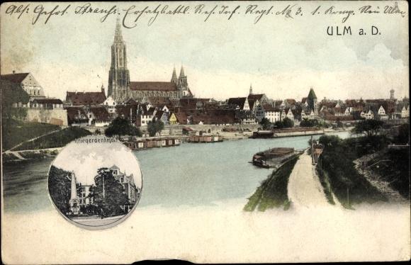 Mechanische Ak Ulm an der Donau, Flusspartie, Friedrichstraße, Schwalbe, Münster, Denkmal