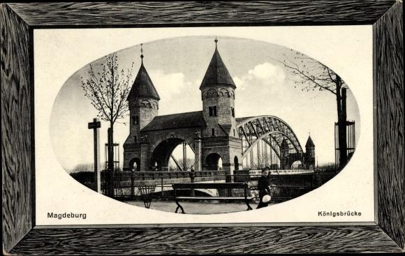Präge Passepartout Ak Magdeburg an der Elbe, Blick zur Königsbrücke