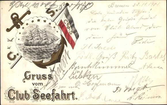 Litho Gruß vom Club Seefahrt, Segelschiff, Anker, Fahne