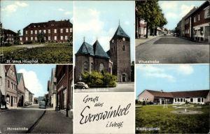 Ak Everswinkel in Nordrhein Westfalen, Ansichten, Vitushospital, Vitusstraße, Kindergarten, Kirche