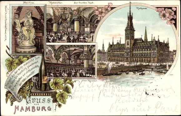 Litho Hamburg, Rathaus, Bacchus, Ratskeller zur bunten Kuh, Remter, Wein