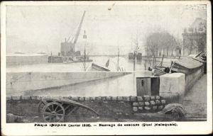 Ak Paris Frankreich, Inondé Janvier 1910, Hochwasser, Barrage de secours, Quai Malaquais