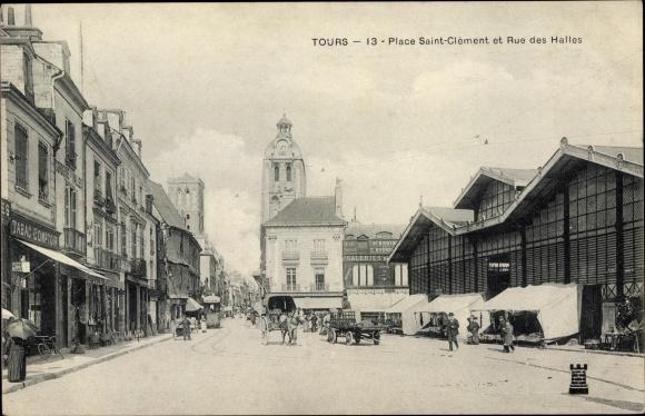 Ak Tours Indre et Loire, Place Saint Clément et Rue des Halles, Kutsche, Markthalle