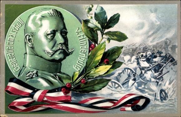 Künstler Ak Generalfeldmarschall Paul von Hindenburg, Schlachtszene