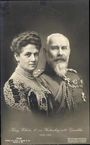 Ak König Wilhelm II. von Württemberg, Gemahlin, Portrait, Liersch 2948