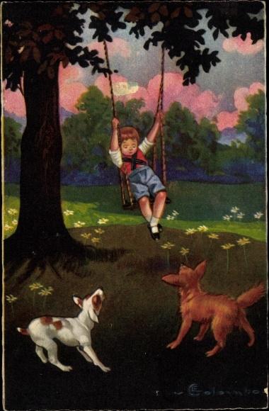 Künstler Ak Colombo, E., Junge auf einer Schaukel, Hunde