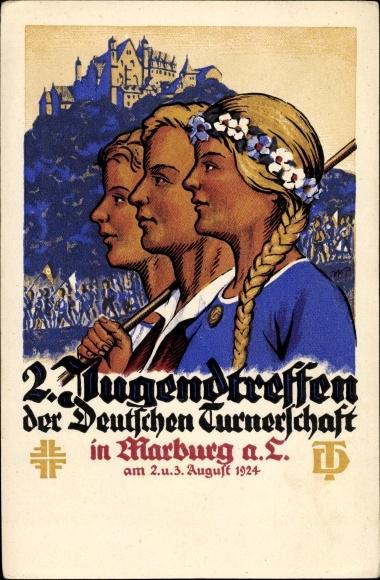 Künstler Ak Marburg an der Lahn, 2. Jugendtreffen der Deutschen Turnerschaft 1924