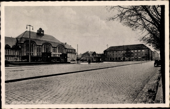Ak Wesermünde Bremerhaven in Bremen, Blick zum Bahnhof