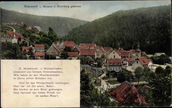 Ak Neuwerk Rübeland Oberharz am Brocken, Blick auf den Ort vom Stahlwerk aus, Gedicht