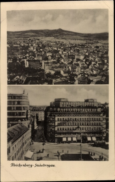 Ak Liberec Reichenberg Stadt, Panorama, Platz