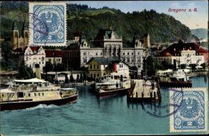 Ak Bregenz am Bodensee Vorarlberg, Hafen und Dampfer, Kirche, Gebäude