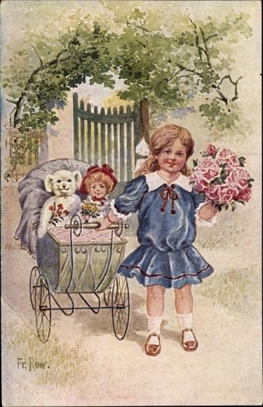 Künstler Ak Row, Fr., Mädchen mit Puppe und Teddy im Puppenwagen, Blumenstrauß