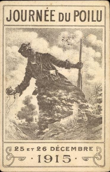 Künstler Ak Journée du Poilu, 25 et 26 Decembre 1915, französischer Soldat in Uniform, I. WK