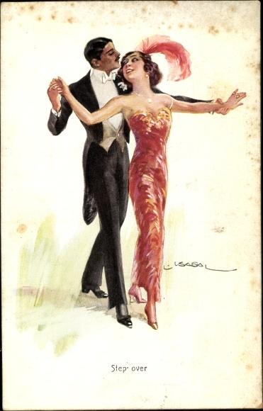 Künstler Ak Usabal, Step over, tanzendes Paar, Mann im Smoking, Frau in rotem Kleid