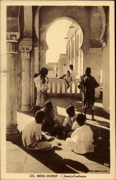 Ak Béni Ounif Algerien, Jeux d'enfants, spielende Kinder, Maghreb