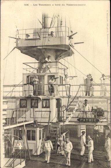 Ak Französisches Kriegsschiff, Patrie, Cuirassé, les Timoniers à bord du Vaisseau amiral