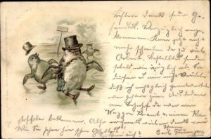 Litho Pinguine rutschen auf Eis aus, vermenschlicht, Hütte