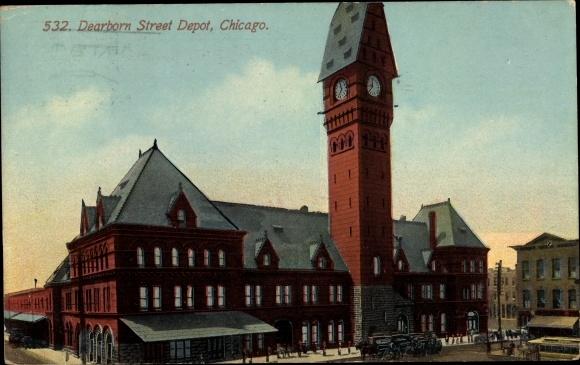 Ak Chicago Illinois USA, 532 Dearborn Street Depot, Uhrenturm