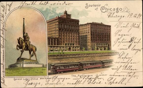 Litho Chicago Illinois USA, Auditorium, General Logan Statue, Personenzug