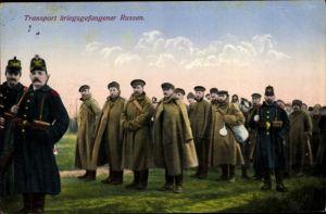 Ak Transport kriegsgefangener Russen, I. WK