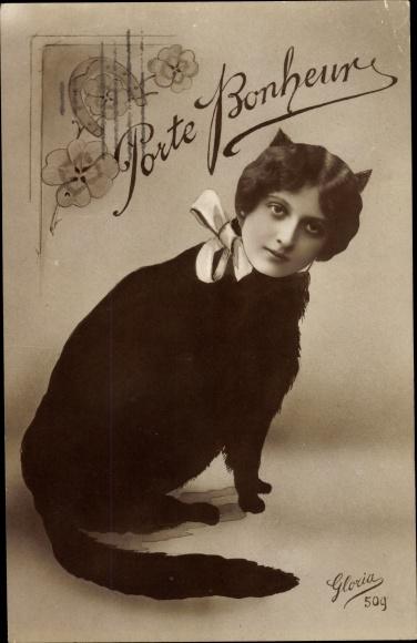 Ak Porte Bonheur, Katze mit Frauenkopf, Hufeisen, Kleeblätter