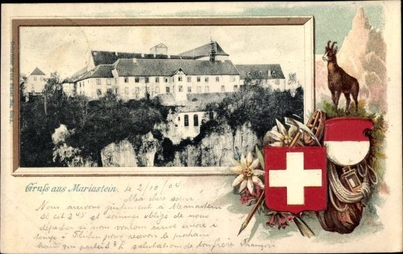 Präge Wappen Passepartout Ak Metzerlen Mariastein Kt. Solothurn Schweiz, Kloster