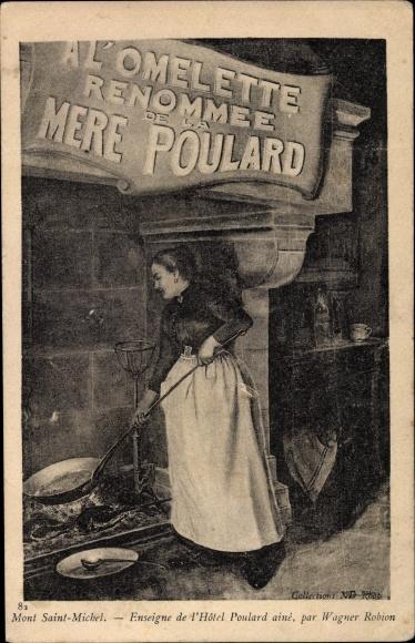 Künstler Ak Robion, Wagner, Le Mont Saint Michel Manche, Hotel Poulard, Köchin am Herdfeuer
