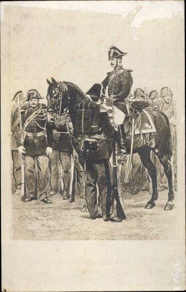 Künstler Ak Französische Soldaten in Uniformen, spätes 19. Jahrhundert