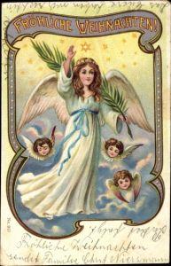 Litho Glückwunsch Weihnachten, Engel mit Palmzweig, Engelsköpfe auf Wolken