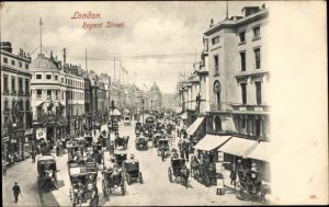 Ak London, Regent Street, Hansom Cabs, Kutschen, Straßenansicht
