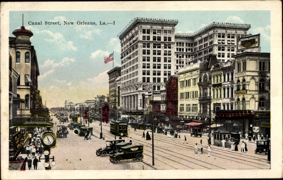 Ak New Orleans Louisiana USA, Canal Street, Straßenansicht, Straßenbahn, Stadtuhr