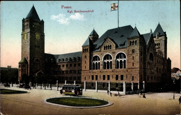 Ak Poznań Posen, Königliches Residenzschloss, Straßenbahn