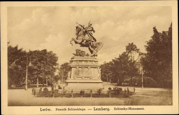 Ak Lwów Lemberg Ukraine, Pomnik Sobieskiego, Sobiesky Monument
