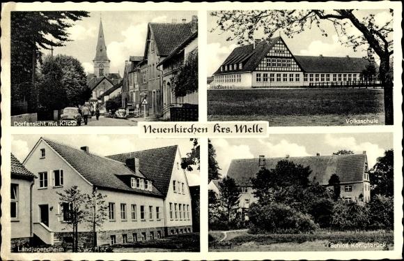 Ak Neuenkirchen Melle in Niedersachsen, Landjugendheim, Volksschule, Schloss Königsbrück, Kirche