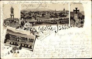 Litho Iserlohn im Märkischen Kreis, Denkmal, Eisernes Kreuz, Schützenhalle, Stadtpanorama