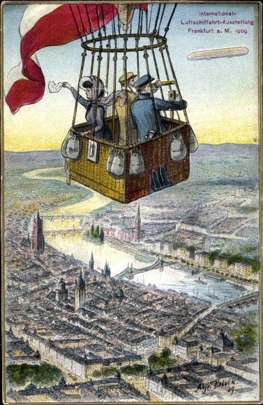Künstler Ak Block, Alfred, Frankfurt am Main, Int. Luftschifffahrt Ausstellung 1909, Ballon,Zeppelin