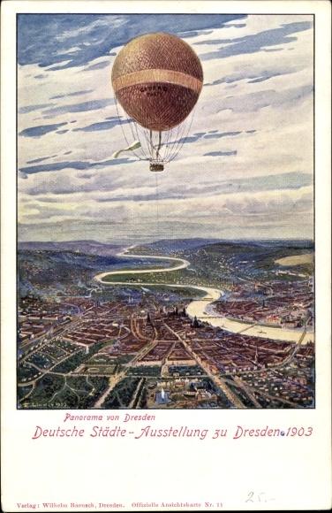 Künstler Ak Dresden, Deutsche Städteausstellung 1903, Panorama, Fesselballon