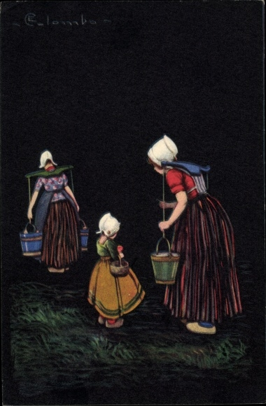 Künstler Ak Colombo, E., Frauen holen Wasser, Eimer