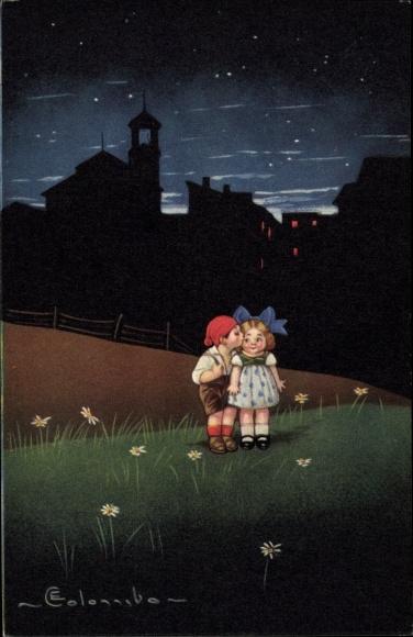 Künstler Ak Colombo, E., Zwei Kinder, Nachtszene