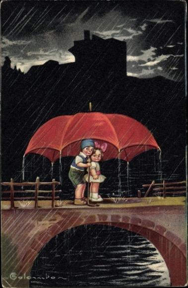 Künstler Ak Colombo, E., Zwei Kinder im Regen, Schirm, Brücke