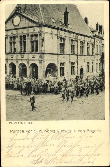 Ak Parade vor König Ludwig III. von Bayern