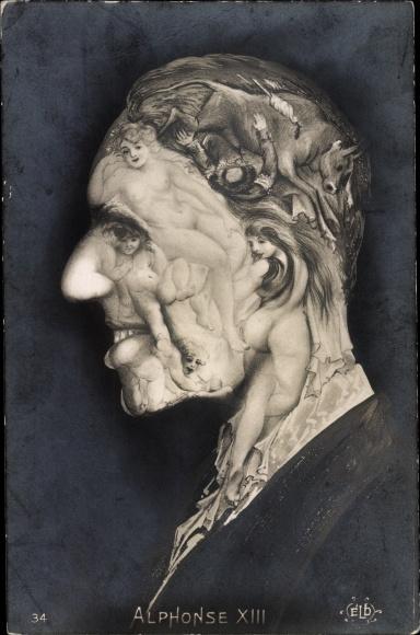Künstler Ak König Alfons XIII. von Spanien, Portrait, Frauenakt, Metamorphose