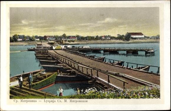 Ak Sremska Mitrovica Serbien, Partie an der Schiffbrücke