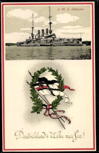 Ak Deutsches Kriegsschiff, SMS Schlesien, Kaiserliche Marine