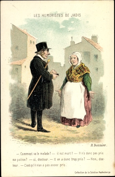 Künstler Ak Daumier, H., Les Humoristes de Jadis, Arzt, Frau, il est mort