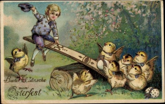 Präge Litho Glückwunsch Ostern, Junge und Küken auf einer Wippe, Ostereier