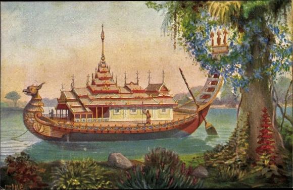 Künstler Ak Rave, Chr., Marine Galerie 83, Boot des Kaisers von Birma, 19. Jahrhundert